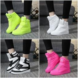 Womens Sneakers Lace Up Athletic High Top New Wedge Heel Cas