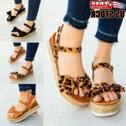 Womens Summer Casual Ankle Strap Flatform Sandals Bow Platfo
