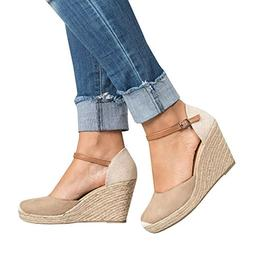 womens wedge heels espadrille sandals ankle strap
