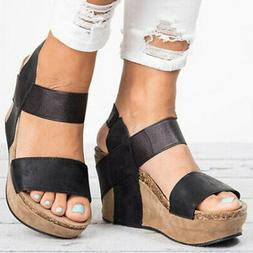 Womens Summer Wedge Sandals High Heels Platform Bandage Casu