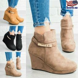 Womens Wedge Heel Ankle Boots Ladies Casual Suede Zipper Win