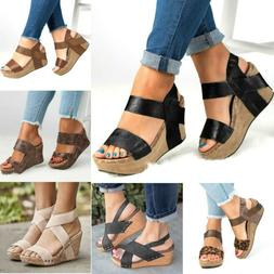 Womens Wedge High Heel Sandals Ladies Open Toe Chunky Ankle