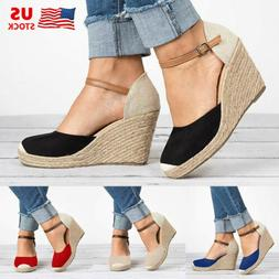 Womens Wedge Platform Peep Toe Sandals Espadrilles Ankle Str