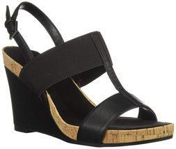 Aerosoles Womens Wedge Sandals Black Tall Dress Casual Chic
