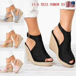Womens Wedges Heel Sandals Casual Straw Platform Peep Toe La
