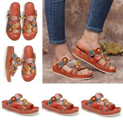 Womens Wide Fit Flat Sandals Wedges Slippers Casual Flip Flo