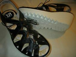 Fly London Yapi Leather Lace-Up Wedge Sandals 37W Black Wome