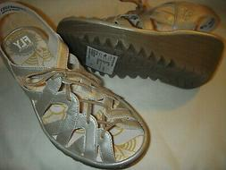 Fly London Yapi Leather Lace-Up Wedge Sandals 37W Silver Wom